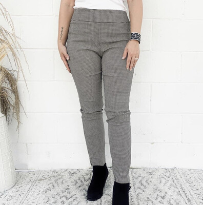 Eric Stretch Pants in Black/White Check