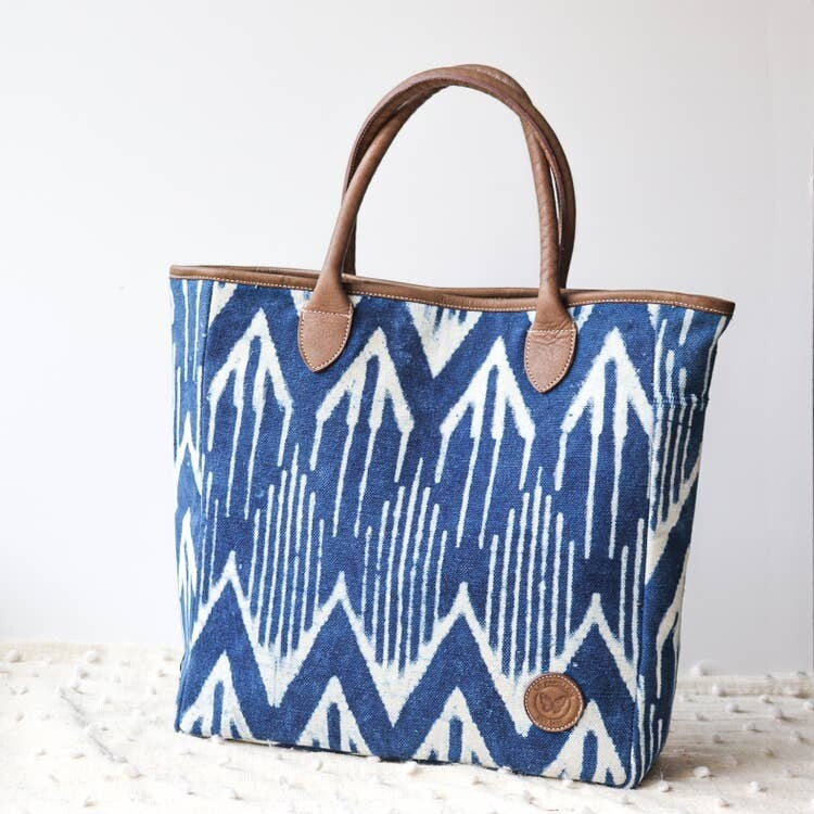 Genuine Leather Cotton Rug Bag in Ikat