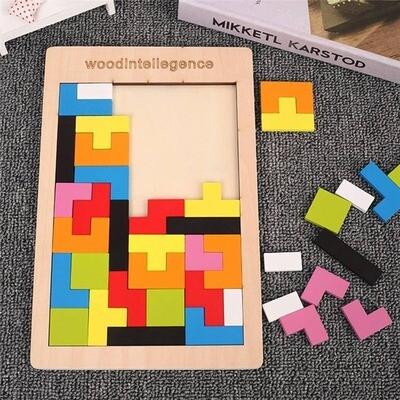 Colorful Tetris Wooden Puzzle