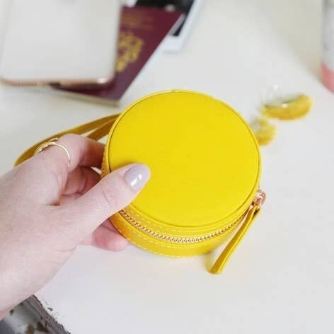 Yellow Mini Round Travel Jewelry Case