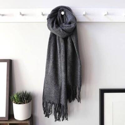 Dark Grey Lambs Wool Scarf