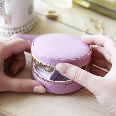Purple Mini Round Travel Jewelry Case