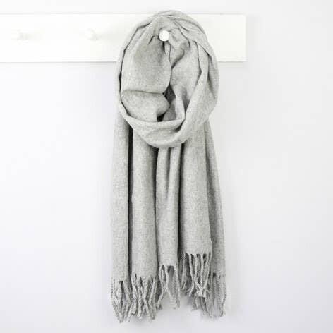 Grey Lambs Wool Scarf