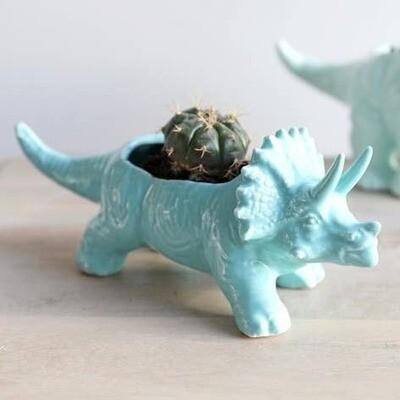 Teal Triceratops Dinosaur Planter