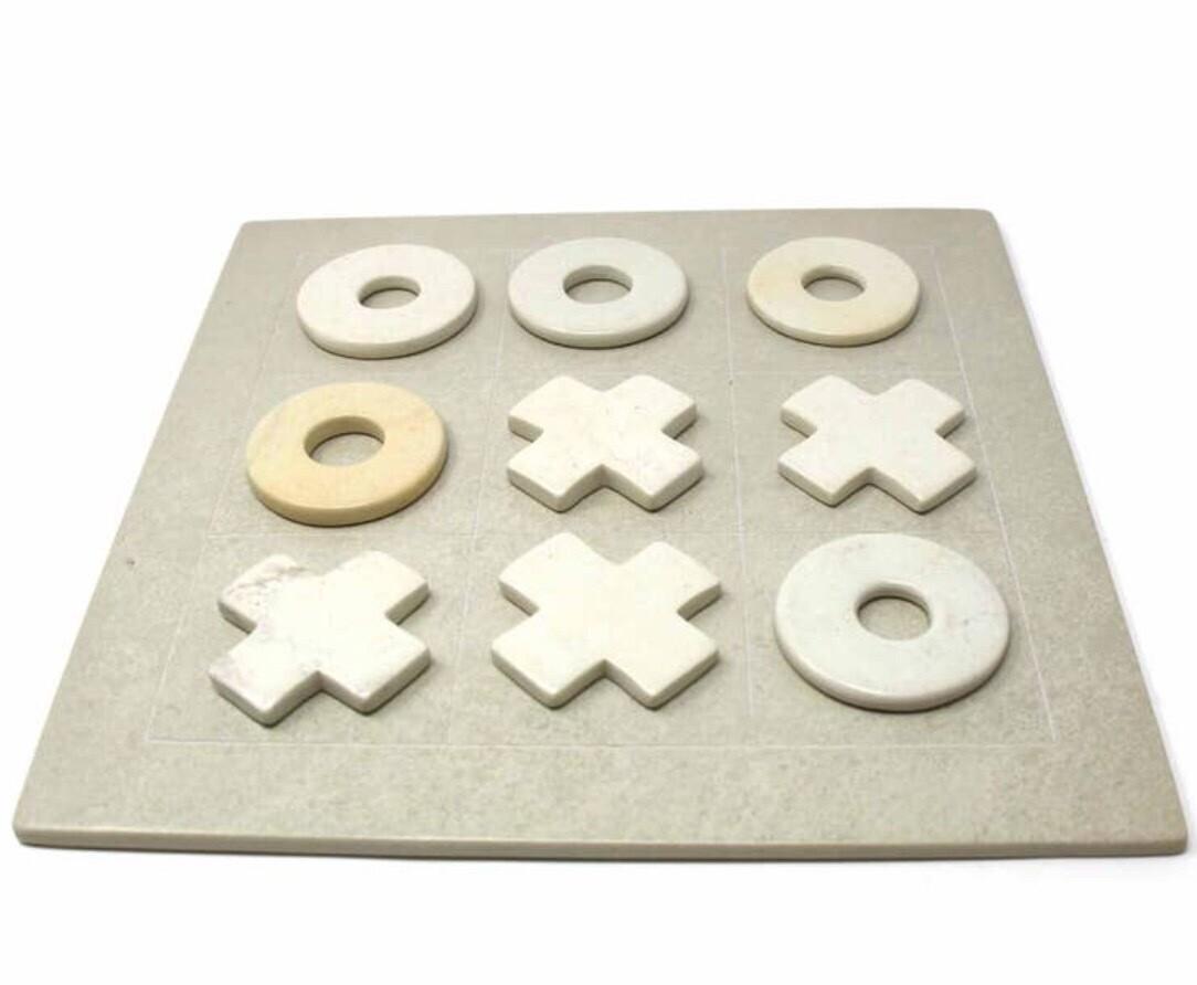 Hand Carved Soapstone Tic Tac Toe Set