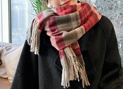 Wool Blend Winter Scarf Red