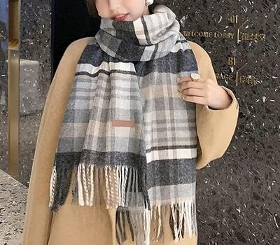 Wool Blend Winter Scarf Gray