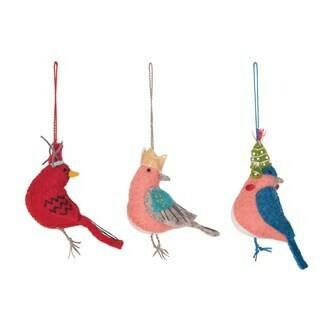 Set of 3 Wool Felt Birds