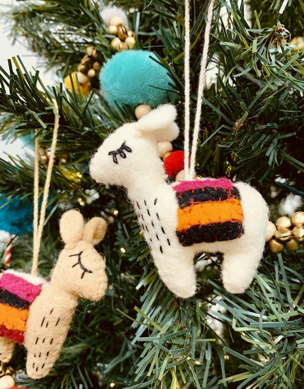 Pair of No Drama Llama Felt Ornament