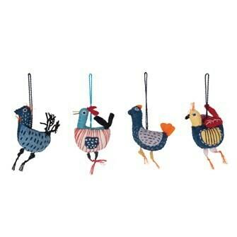 Set of 4 Wool Felt Birds
