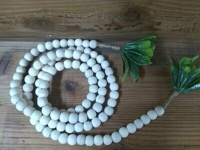 Wood Bead Garland with Faux Leaves