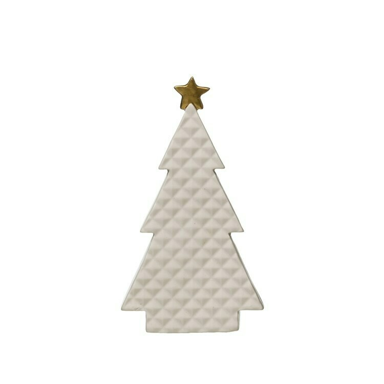 Small Quilted Porcelain Tree with Gold Star