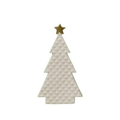 Large Quilted Porcelain Tree with Gold Star