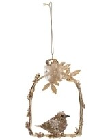 Metal Arch Ornament with Beaded Bird