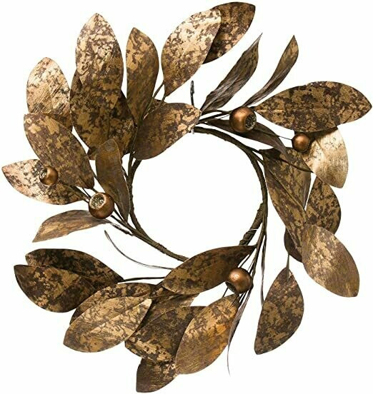 """20"""" Round Gold Leaf Wreath with Pods"""
