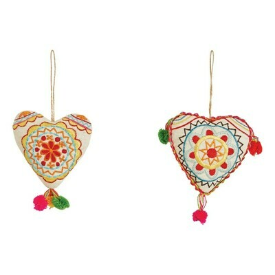 Set of 2 Embroidered Heart Ornaments, assorted