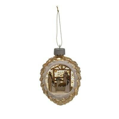LED Glass Nativity Scene Ornament