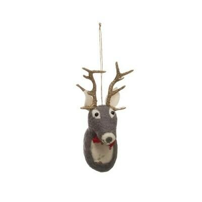 Wool Felt Deer Bust Ornament