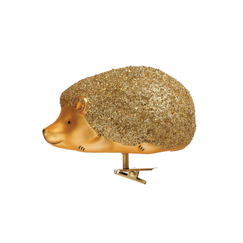 Glass Clip On Gold Hedgehog Ornament