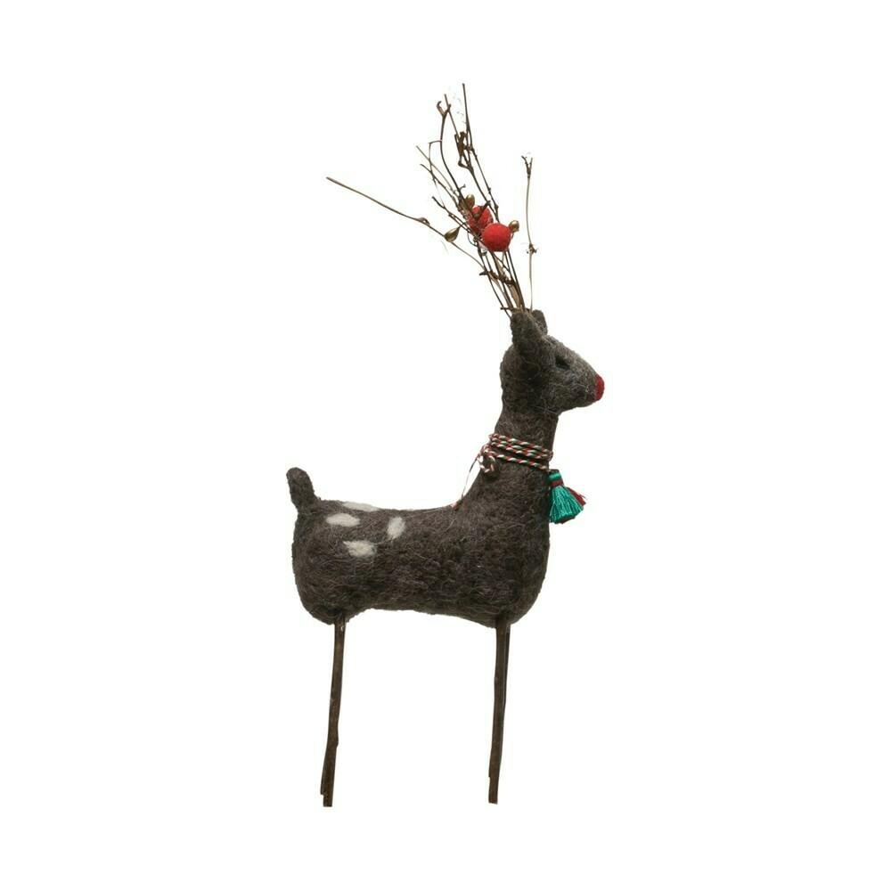 Large Felt Deer with Twig Antlers
