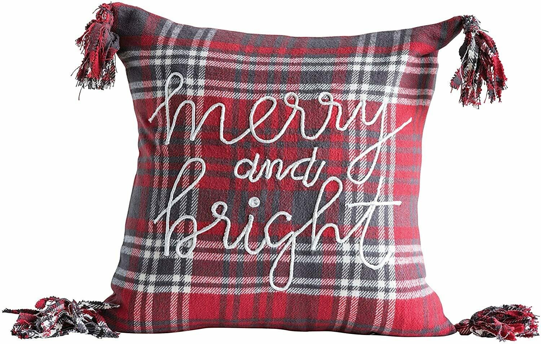 "18"" Cotton Plaid Christmas Pillow"