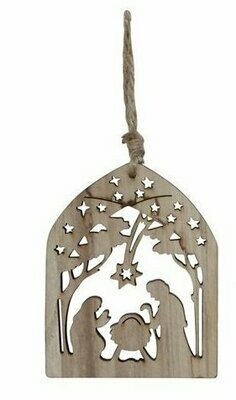 Wood Nativity Christmas Ornament with Starry Night Sky