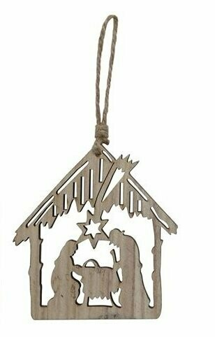 Wood Nativity Christmas Ornament of Bethlehem Stable