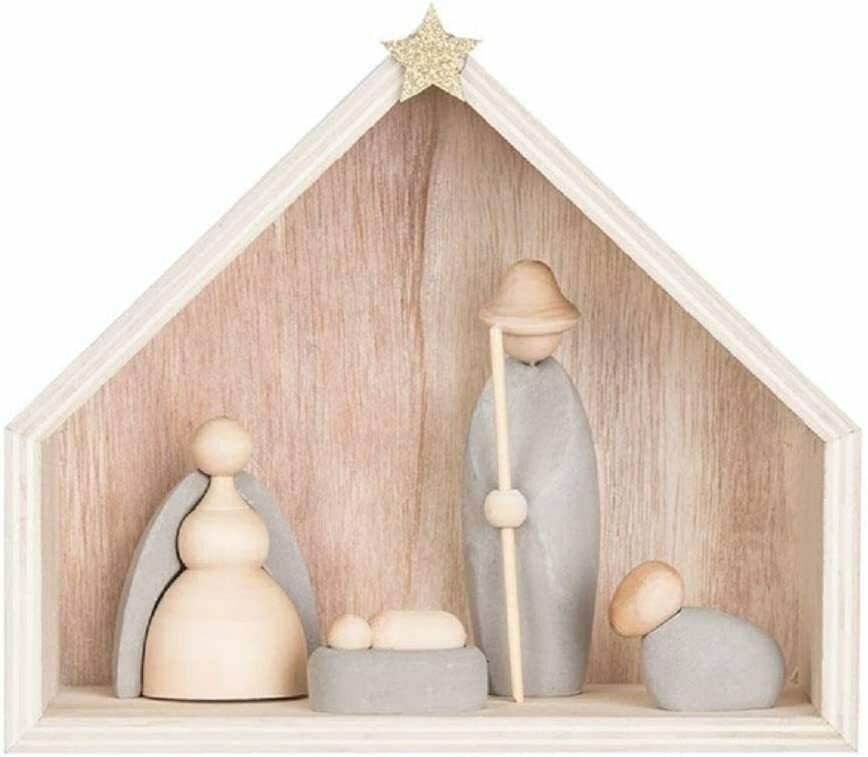 Wood & Cement Nativity Scene