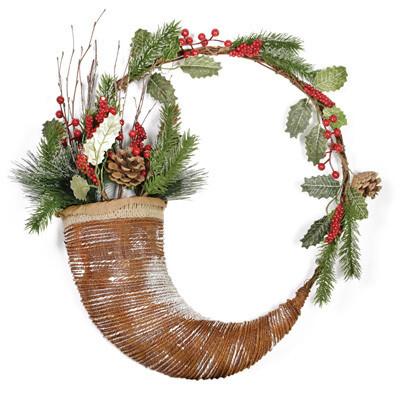 Rustic Evergreen & Berries Horn Wreath