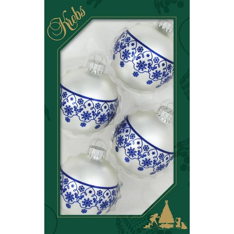 Set 4 Glass Balls with Blue Snowflakes