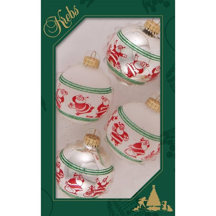 Set 4 Glass Balls with Happy Santa