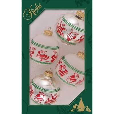 Set 4 Glass Balls with Happy Santa