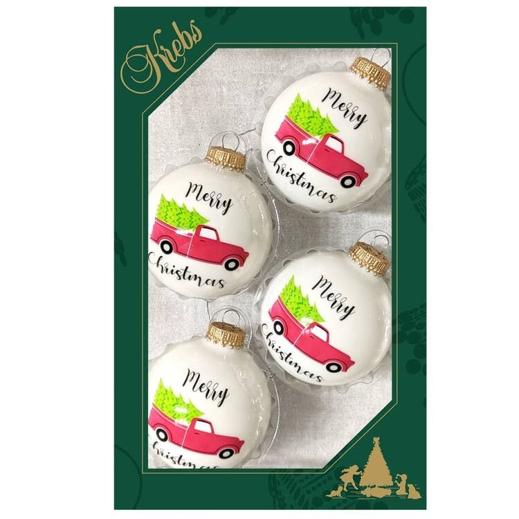 Set 4 Porcelain Balls with Christmas Trucks