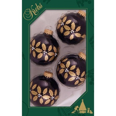 Set 4 Glass Balls with Gold Holly