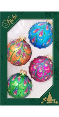 Set 4 Glass Balls with Peacock Drapes