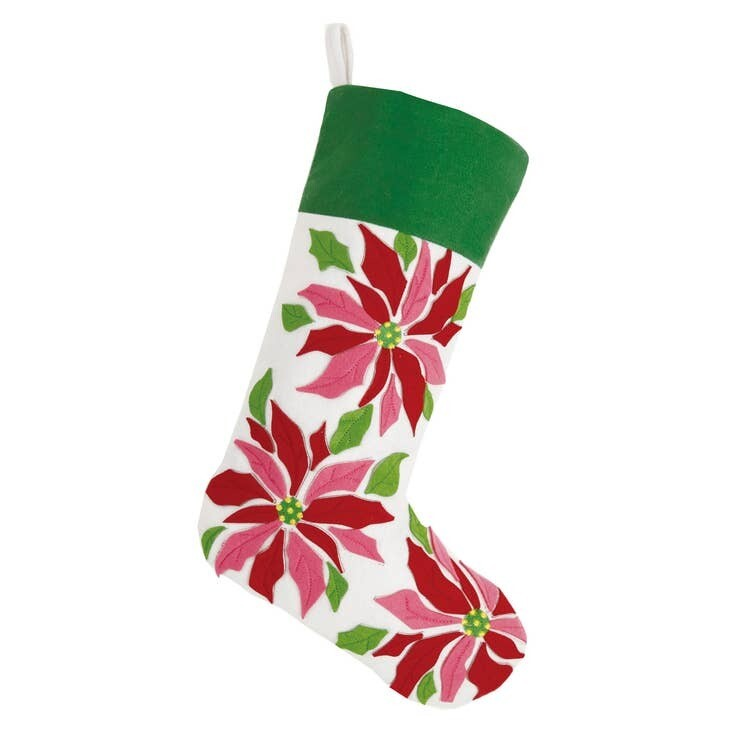 Poinsettia Felt Stocking