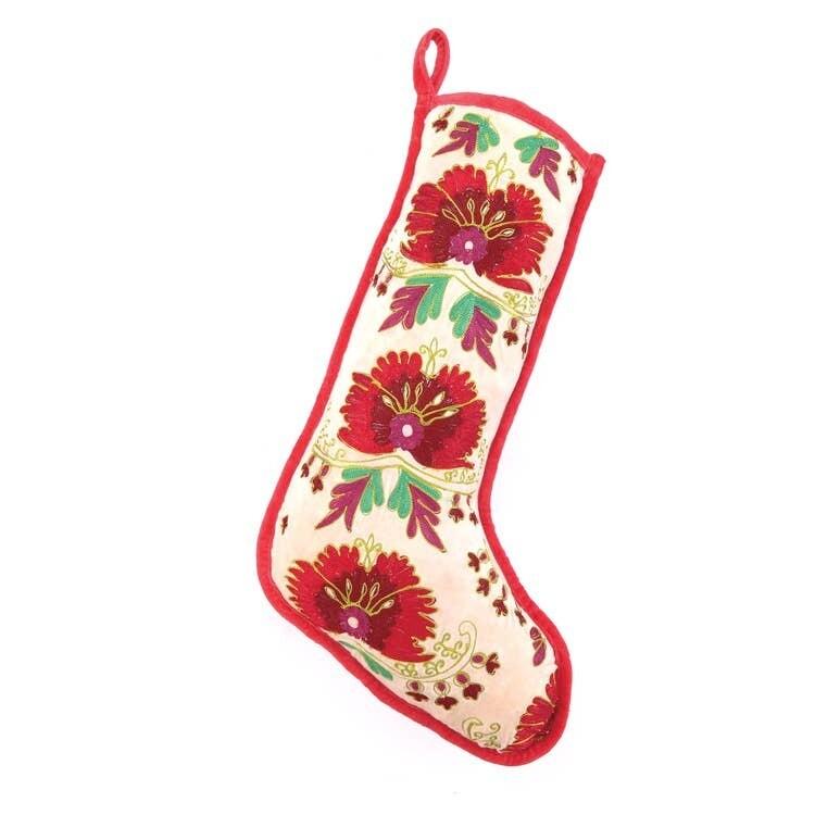 Holly Berry Floral Velvet Stocking