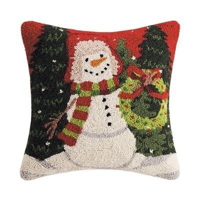 Snowman Holding Wreath Pillow