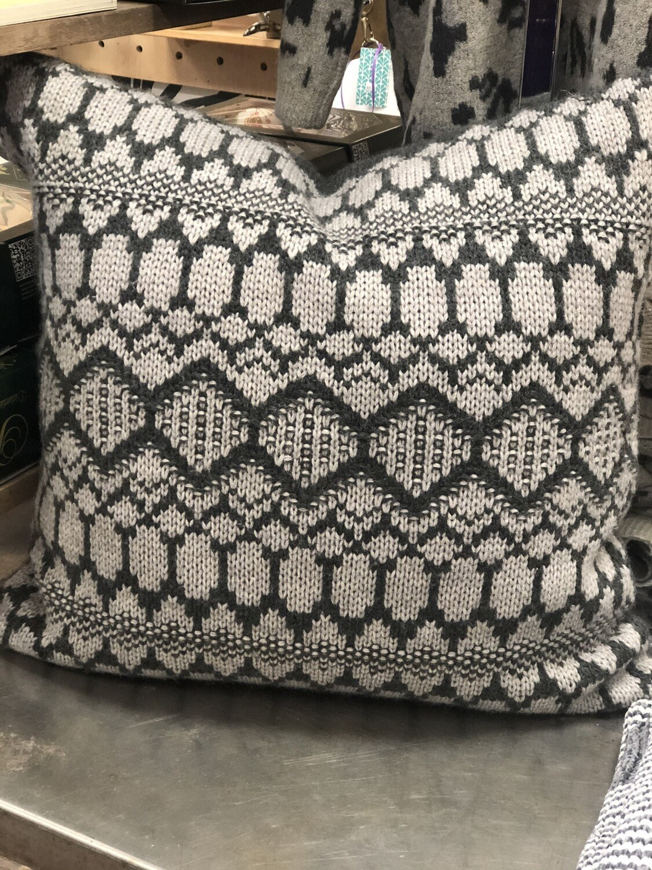 "Gray & White Sweater Pillow 20"""
