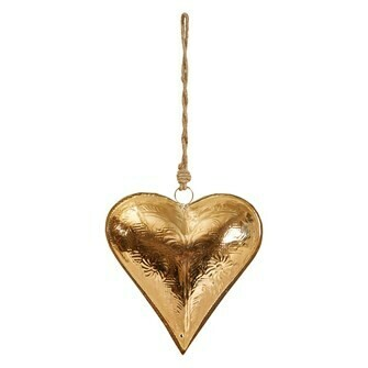 "8.5"" Engraved Gold Heart Metal Ornament"