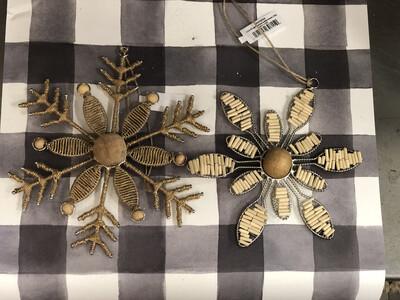 Set of 2 Jute & Wood Bead Snowflake Ornament