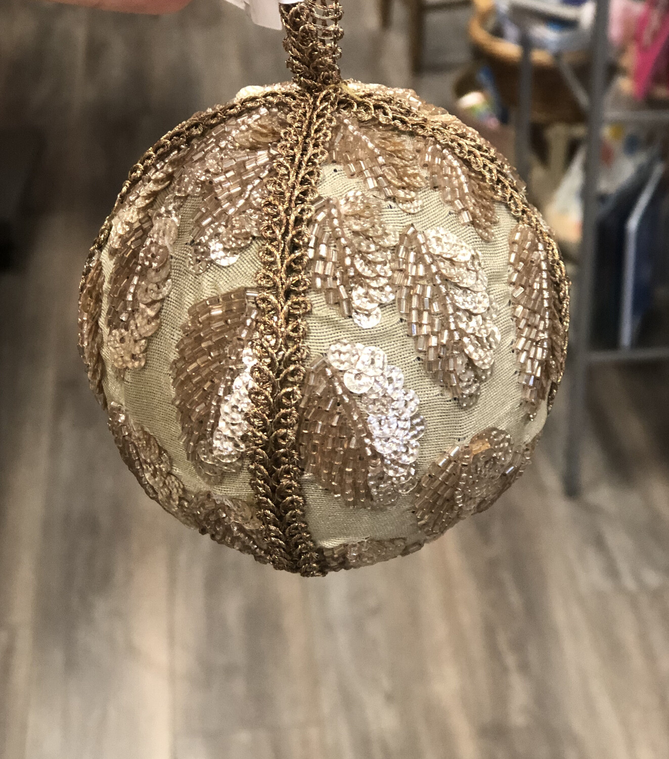 """3-3/4"""" Glass Beaded Embroidered Ball Ornament"""