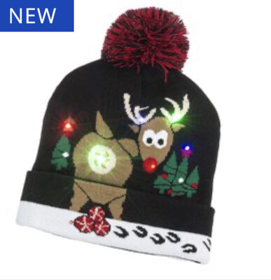 LED Rudolph Beanie Hat