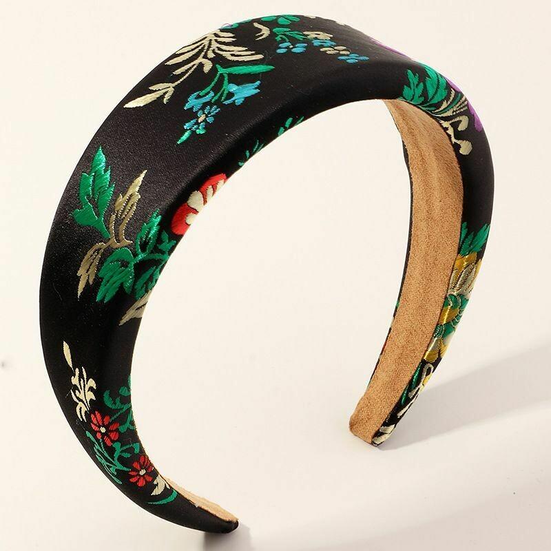 Embroidered Black Silk Headband