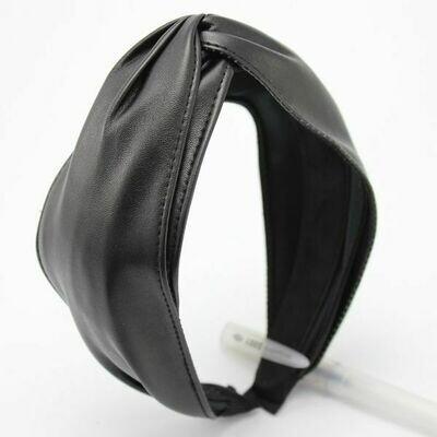 Black Embossed Faux Leather Headband