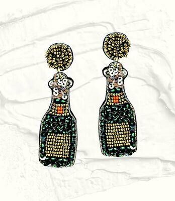Sequin Champagne Bottle Earrings