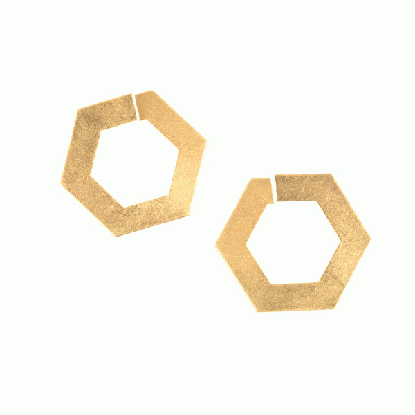 Hexagon Post Earrings