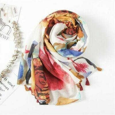 Cotton & Linen Abstract Autumn Scarf