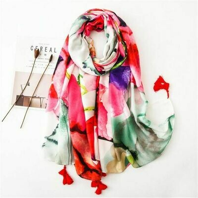 Cotton & Linen Abstract Flowers Scarf