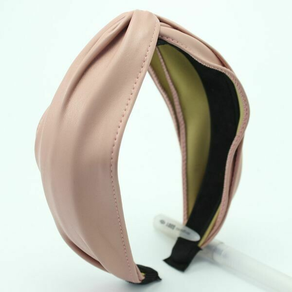 Pink Embossed Faux Leather Headband